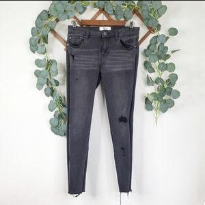 Pistola Raw Hem Distressed Skinny Crop Jeans - 28